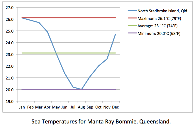 Manta Ray Bommie sea temps
